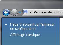Affichage classique panneau de configuration Vista