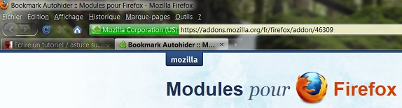 Autohide Firefox bookmark