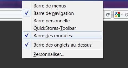 Barre des modules firefox