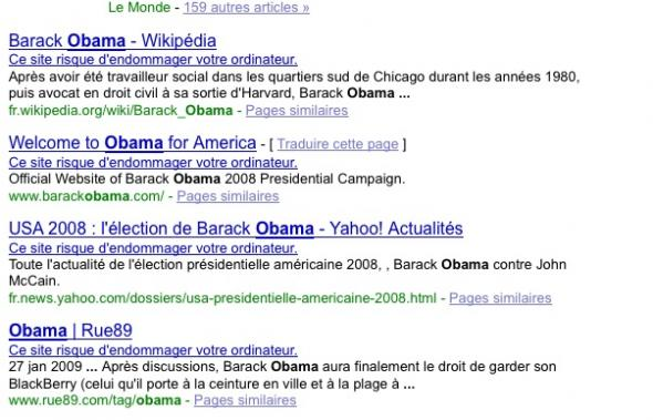 Google bug Obama recherche