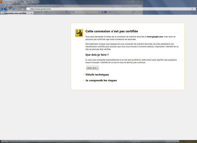 Firefox : connexion non certifiée