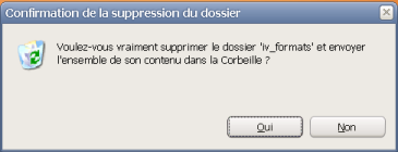 Confirmation de la suppression de dossier