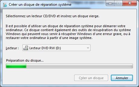 Créer disque reparation système
