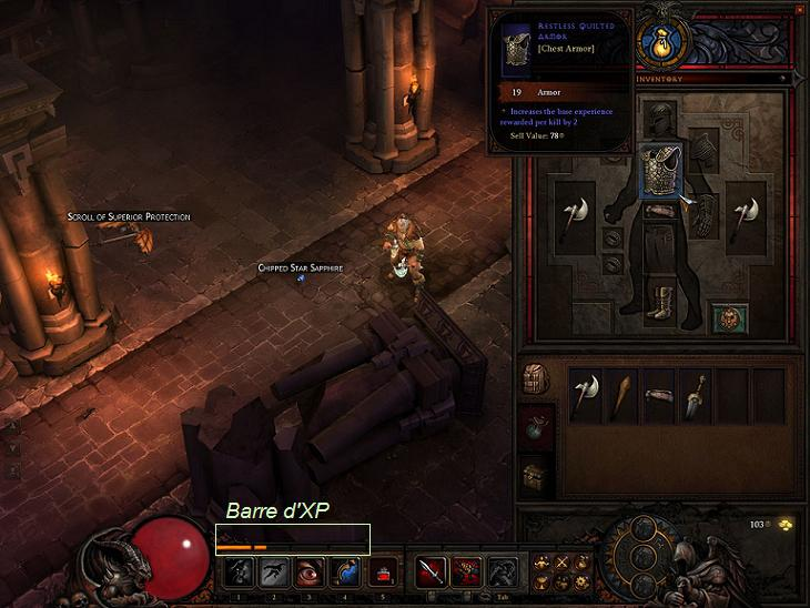 Diablo 3 barbare : barre d'xp