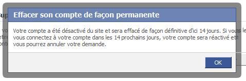 Dernière étape effacer compte facebook