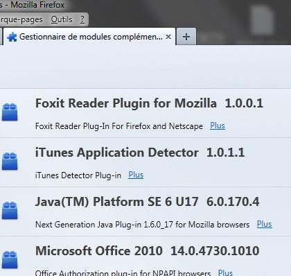 Gestionnaire de module Firefox