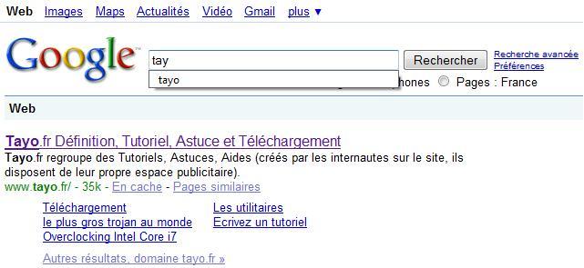 Google recherche effacer