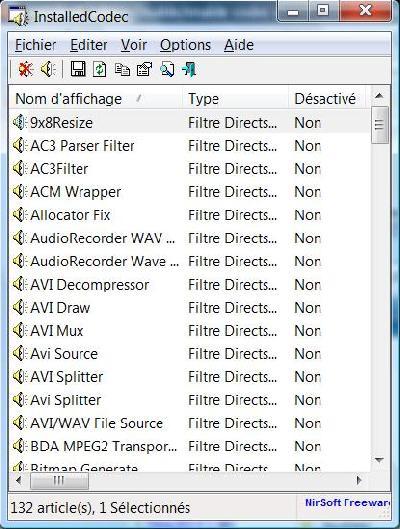 InstalledCodec Afficher les codecs installés
