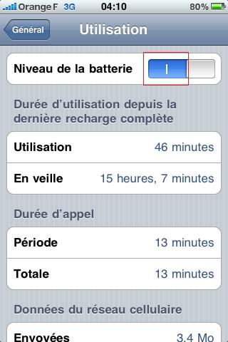 Iphone niveau batterie pourcentage