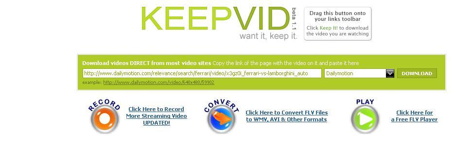 KeepVid Tutoriel pour copier une vidéo youtube dailymotion sur son disque dur