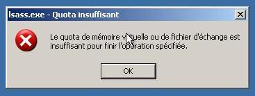 Mémoire virtuelle insuffisante