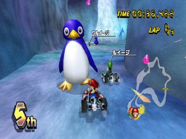 Monde des pinguins mario kart