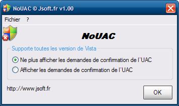 Logiciel anti UAC NoUAC
