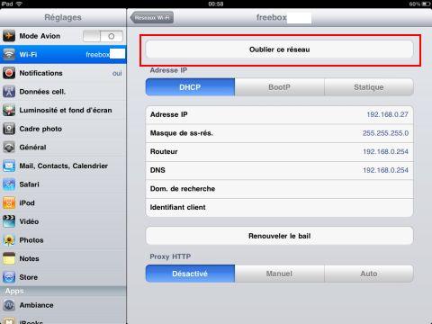 Oublier réseau wifi ipad